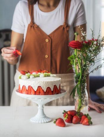 Recette d'un gâteau fraisier rhubarbe